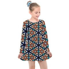 Church Window Stained Glass Texture Kids  Long Sleeve Dress by Pakrebo