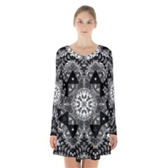 Mandala Calming Coloring Page Long Sleeve Velvet V Neck Dress