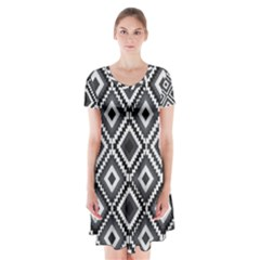 Native American Pattern Short Sleeve V Neck Flare Dress by Valentinaart