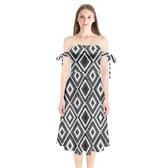Native American Pattern Shoulder Tie Bardot Midi Dress by Valentinaart