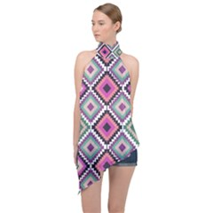Native American Pattern Halter Asymmetric Satin Top by Valentinaart