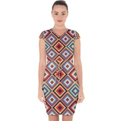 Native American Pattern Capsleeve Drawstring Dress