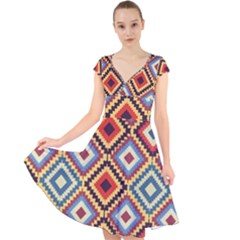 Native American Pattern Cap Sleeve Front Wrap Midi Dress