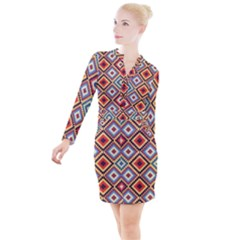 Native American Pattern Button Long Sleeve Dress