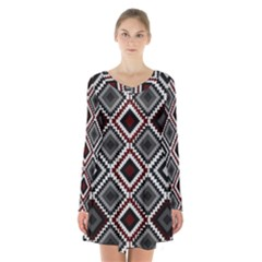 Native American Pattern Long Sleeve Velvet V Neck Dress