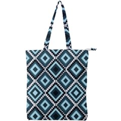 Native American Pattern Double Zip Up Tote Bag
