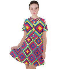 Native American Pattern Short Sleeve Shoulder Cut Out Dress