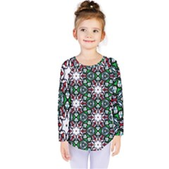 Stained Glass Pattern Church Window Kids  Long Sleeve Tee