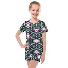 Stained Glass Pattern Church Window Kids  Mesh Tee And Shorts Set