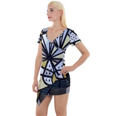 Hildesheim Germany Lower Saxony Short Sleeve Asymmetric Mini Dress