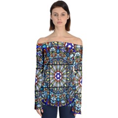 Vitrage Stained Glass Church Window Off Shoulder Long Sleeve Top