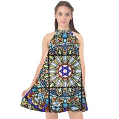 Vitrage Stained Glass Church Window Halter Neckline Chiffon Dress