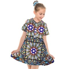Vitrage Stained Glass Church Window Kids  Short Sleeve Shirt Dress
