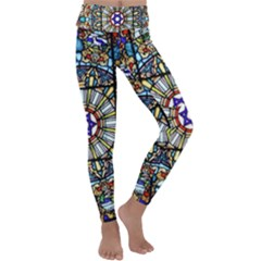 Vitrage Stained Glass Church Window Kids  Lightweight Velour Classic Yoga Leggings