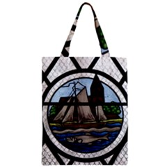 Window Image Stained Glass Zipper Classic Tote Bag by Pakrebo