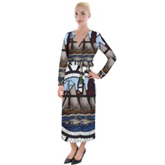 Window Image Stained Glass Velvet Maxi Wrap Dress