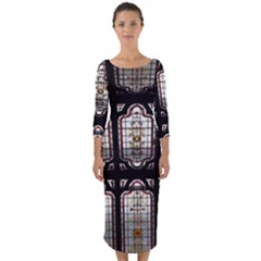 Stained Glass Window Repeat Quarter Sleeve Midi Bodycon Dress