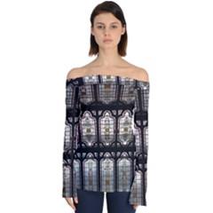 Stained Glass Window Repeat Off Shoulder Long Sleeve Top by Pakrebo