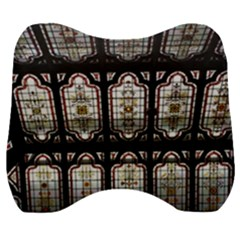 Stained Glass Window Repeat Velour Head Support Cushion