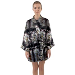 Stained Glass Window Repeat Long Sleeve Kimono Robe