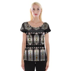 Window Image Stained Glass Cap Sleeve Top
