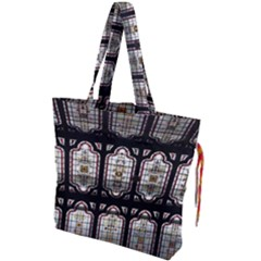Window Image Stained Glass Drawstring Tote Bag