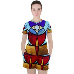 Church Window Glass Tiffany Women s Tee And Shorts Set