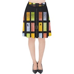 Window Stained Glass Glass Colors Velvet High Waist Skirt