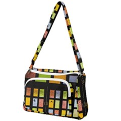 Window Stained Glass Glass Colors Front Pocket Crossbody Bag
