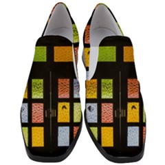 Window Stained Glass Glass Colors Slip On Heel Loafers by Pakrebo