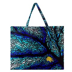 Sea Fans Diving Coral Stained Glass Zipper Large Tote Bag