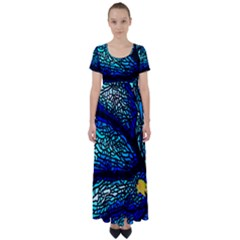 Sea Fans Diving Coral Stained Glass High Waist Short Sleeve Maxi Dress by Pakrebo