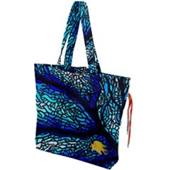 Sea Fans Diving Coral Stained Glass Drawstring Tote Bag