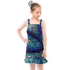 Sea Fans Diving Coral Stained Glass Kids  Overall Dress