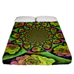 Rose Painted Kaleidoscope Colorful Fitted Sheet (queen Size)