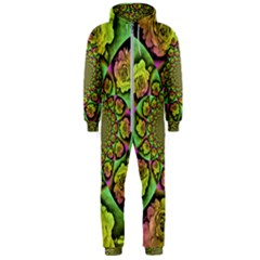 Rose Painted Kaleidoscope Colorful Hooded Jumpsuit (men)