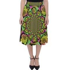 Rose Painted Kaleidoscope Colorful Classic Midi Skirt
