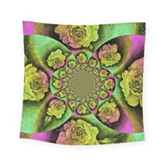 Rose Painted Kaleidoscope Colorful Square Tapestry (small) by Pakrebo