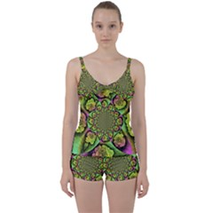 Rose Painted Kaleidoscope Colorful Tie Front Two Piece Tankini