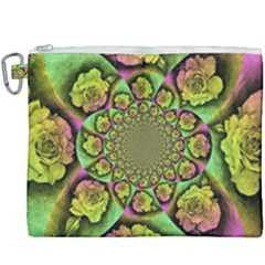 Rose Painted Kaleidoscope Colorful Canvas Cosmetic Bag (xxxl)