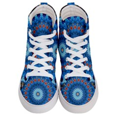 Rose Kaleidoscope Art Pattern Women s Hi Top Skate Sneakers