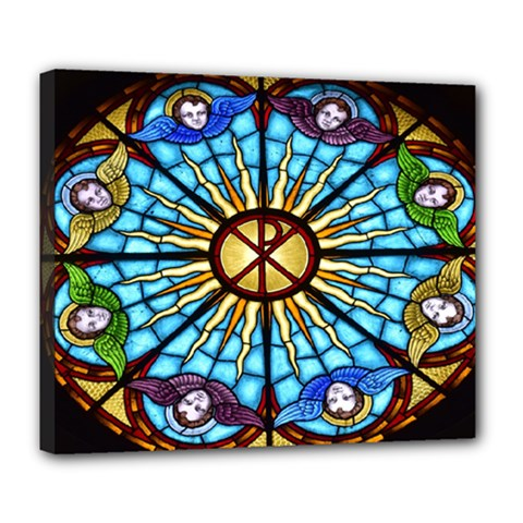 Church Window Stained Glass Church Deluxe Canvas 24  X 20  (stretched)