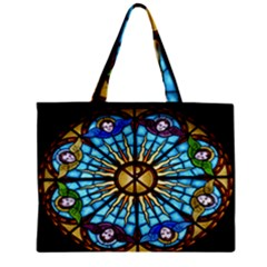 Church Window Stained Glass Church Zipper Mini Tote Bag
