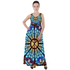 Church Window Stained Glass Church Empire Waist Velour Maxi Dress