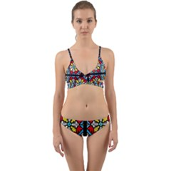 Stained Glass Window Colorful Color Wrap Around Bikini Set