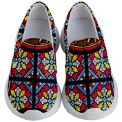 Stained Glass Window Colorful Color Kids  Lightweight Slip Ons by Pakrebo