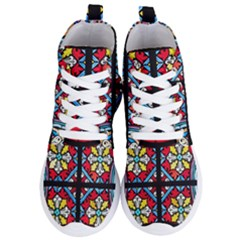 Stained Glass Window Colorful Color Women s Lightweight High Top Sneakers by Pakrebo