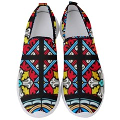 Stained Glass Window Colorful Color Men s Slip On Sneakers by Pakrebo