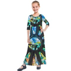 Cathedral Sagrada Família Barcelona Kids  Quarter Sleeve Maxi Dress by Pakrebo