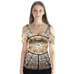 Stained Glass Window Glass Ceiling Butterfly Sleeve Cutout Tee